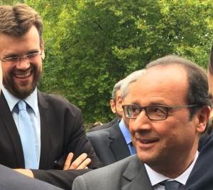 Notre secrétaire de section palaisien, Matthieu Pasquio, auprès du Président Hollande